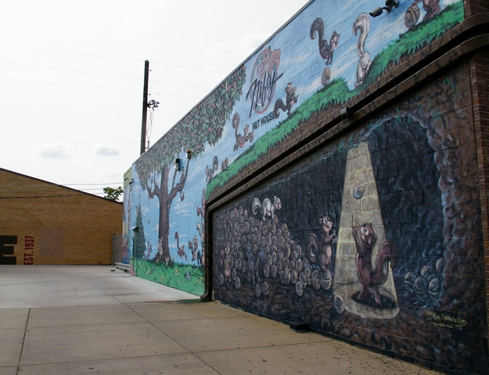 Mural of squirrels outside the Nifty Nut House in Wichita, Kansas