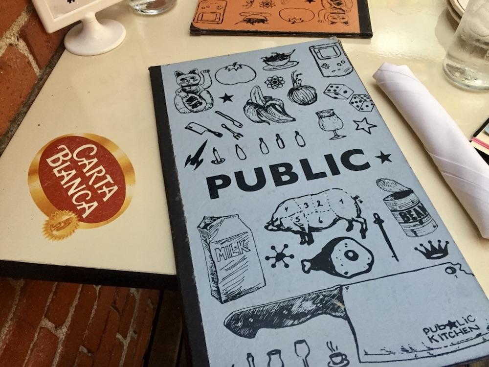Board game menu at Public at the Brickyard in Wichita, Kansas
