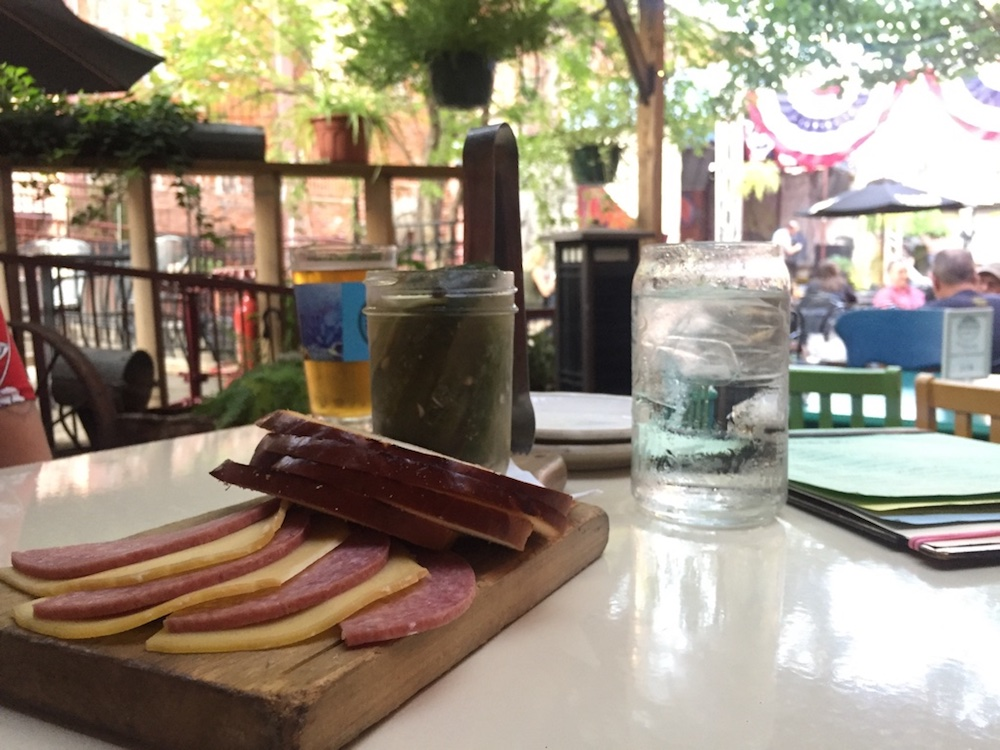 Bread and pickles at Public at the Brickyard in Wichita, Kansas