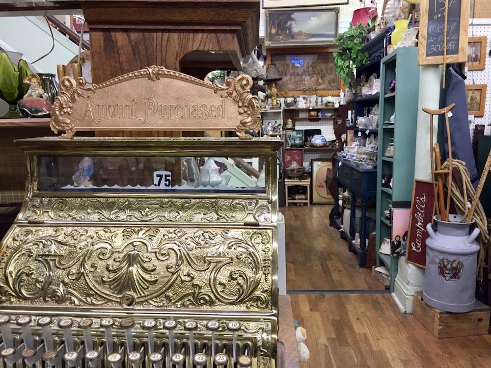 Vintage cash register at an antique shop in Abilene, Kansas
