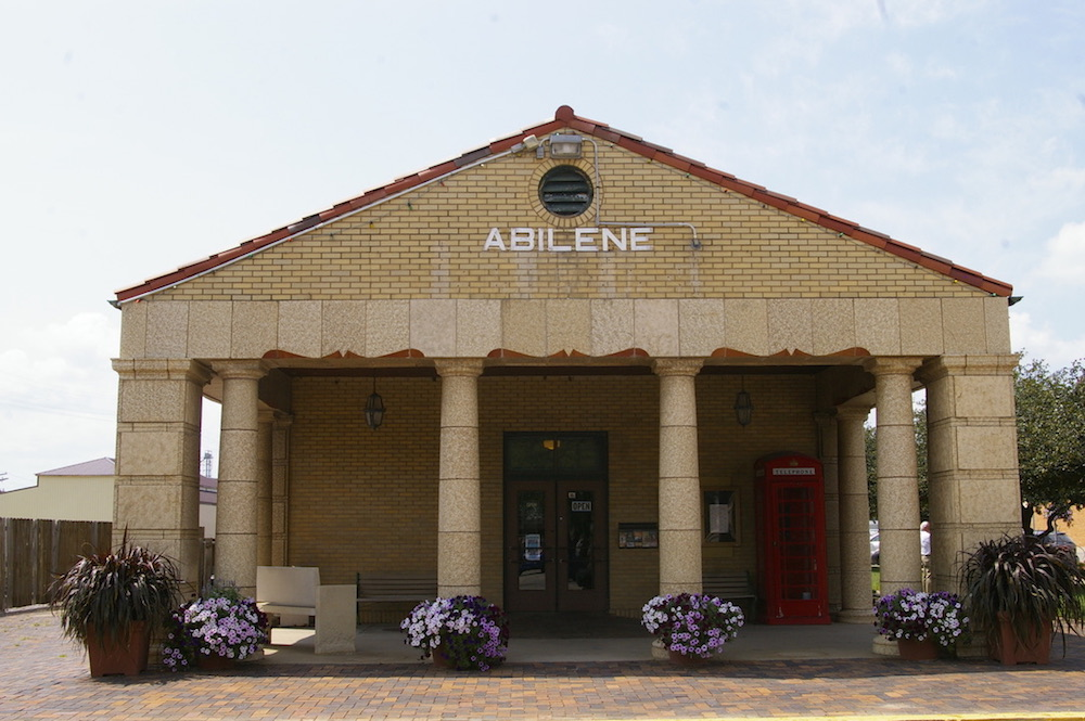 Exterior of the historic train station in Abilene, Kansas