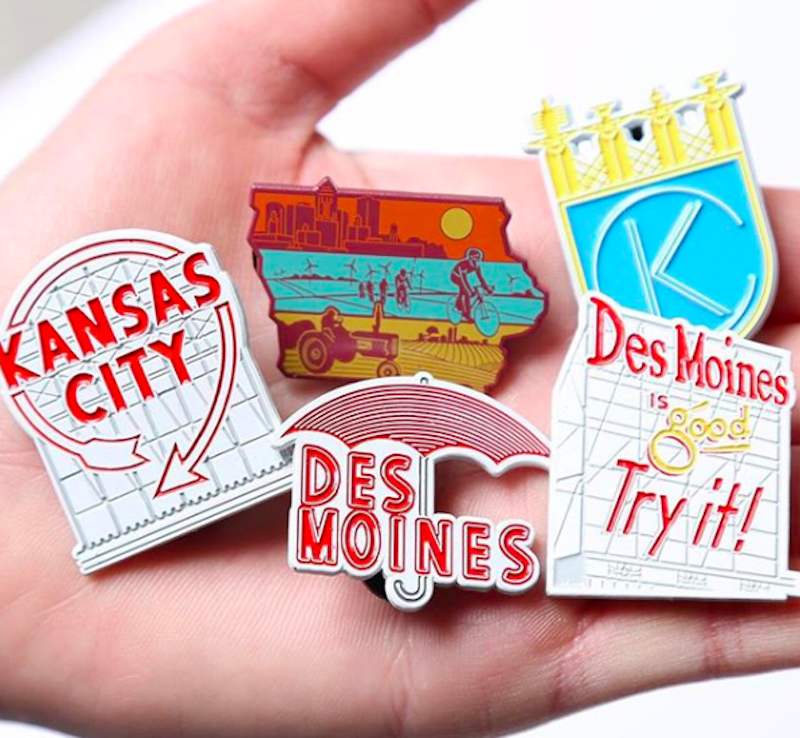 Iowa themed enamel pins from Bozz Prints