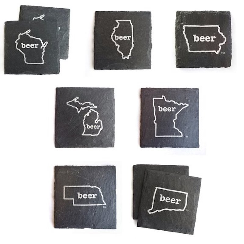 Slate coasters featuring shapes of Midwest shapes from CheersInk