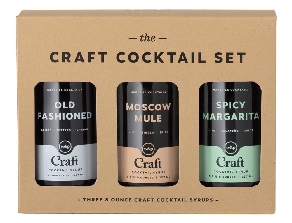 Set of three bottled cocktail syrups