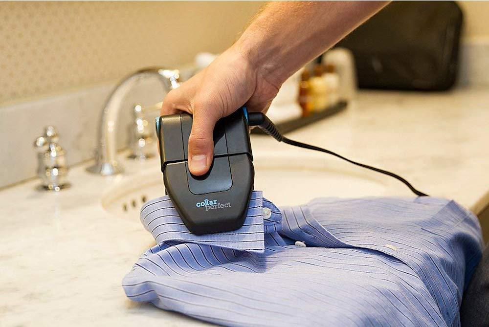 Collar Perfect mini travel iron ironing a shirt collar