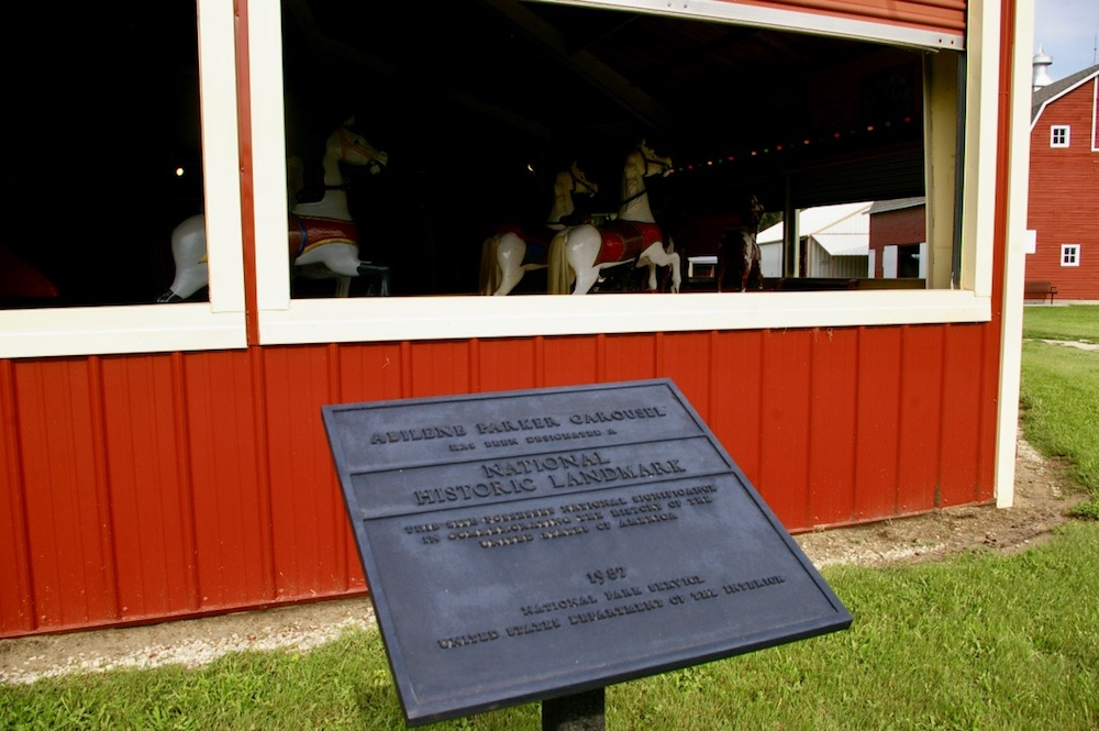 Exterior red pavilion of the C.W. Parker Carousel at the Dickinson County Heritage Center in Abilene, Kansas