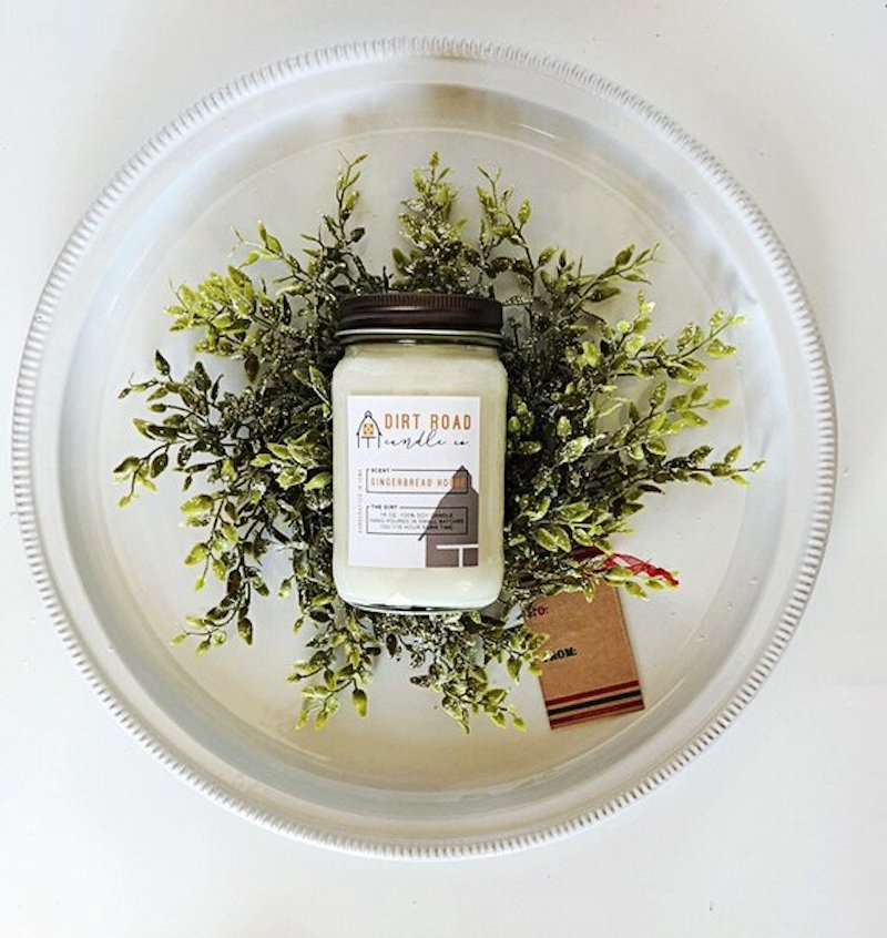 Dirt Road Candle Co candle is a bowl of holiday branches