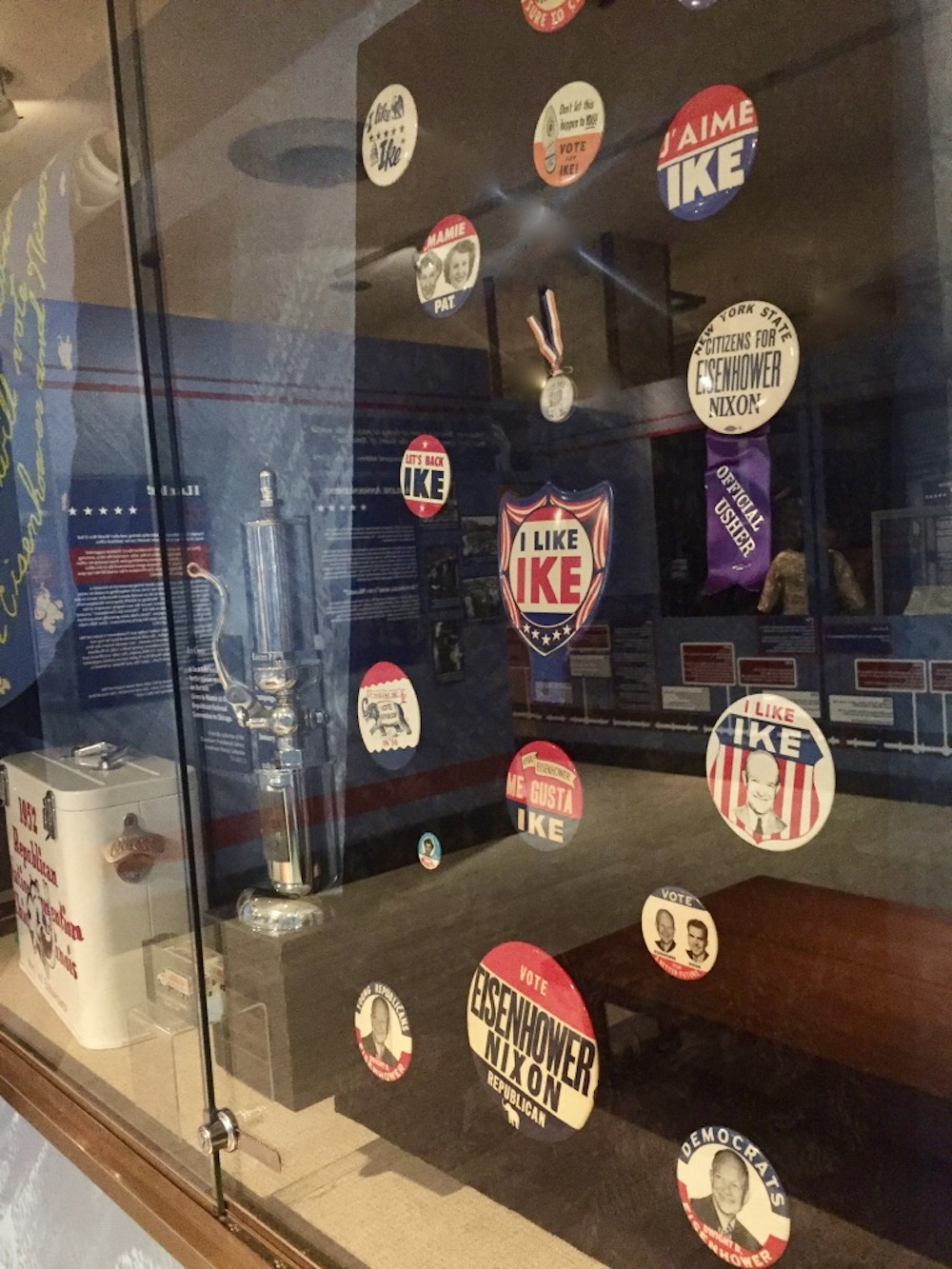 I like Ike buttons on display at the Eisenhower Presidential Library and Museum in Abilene, Kansas