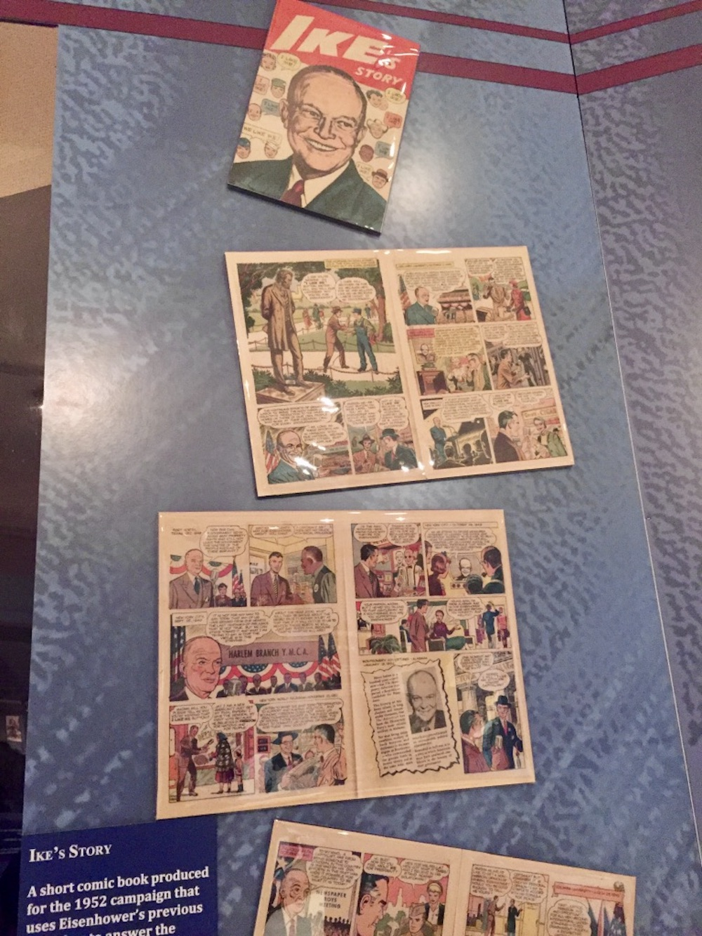 Ike comic book on display at the Eisenhower Presidential Library and Museum in Abilene, Kansas