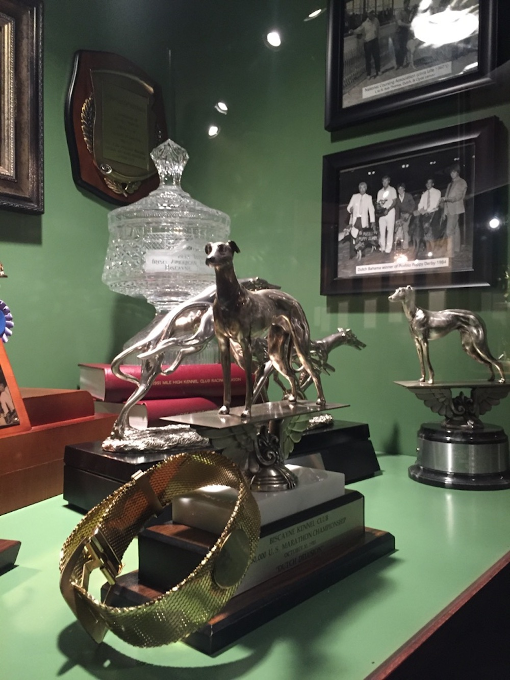 Trophy display case at the Greyhound Hall of Fame in Abilene, Kansas