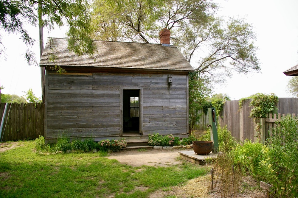 Homestead log cabin at the Old Cowtown Museum in Wichita, Kansas
