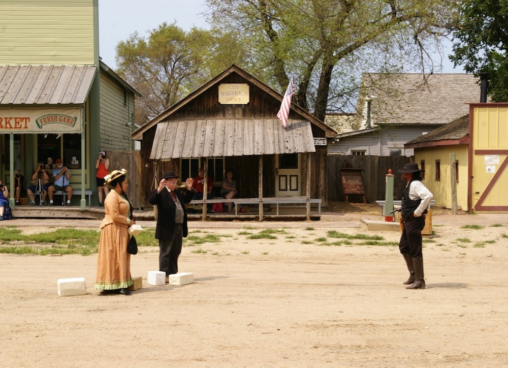 Reenactment of an Old West shootout at the Old Cowtown Museum in Wichita, Kansas