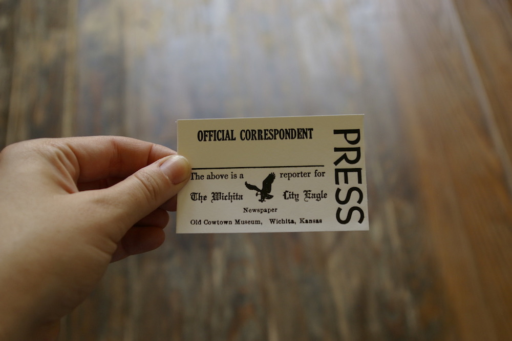 Letterpressed official newspaper correspondent card at the Old Cowtown Museum in Wichita, Kansas