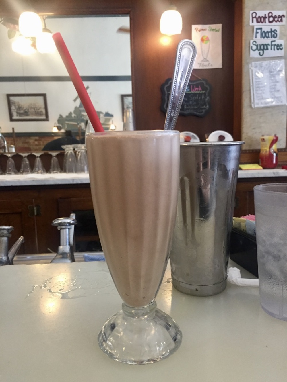 Coffee chocolate malt in a tall shake glass at the Old Mill Tasty Shop in Wichita, Kansas