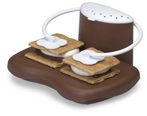 Progressive Microwave S'mores maker with graham crackers, chocolate, and marshmallows on it