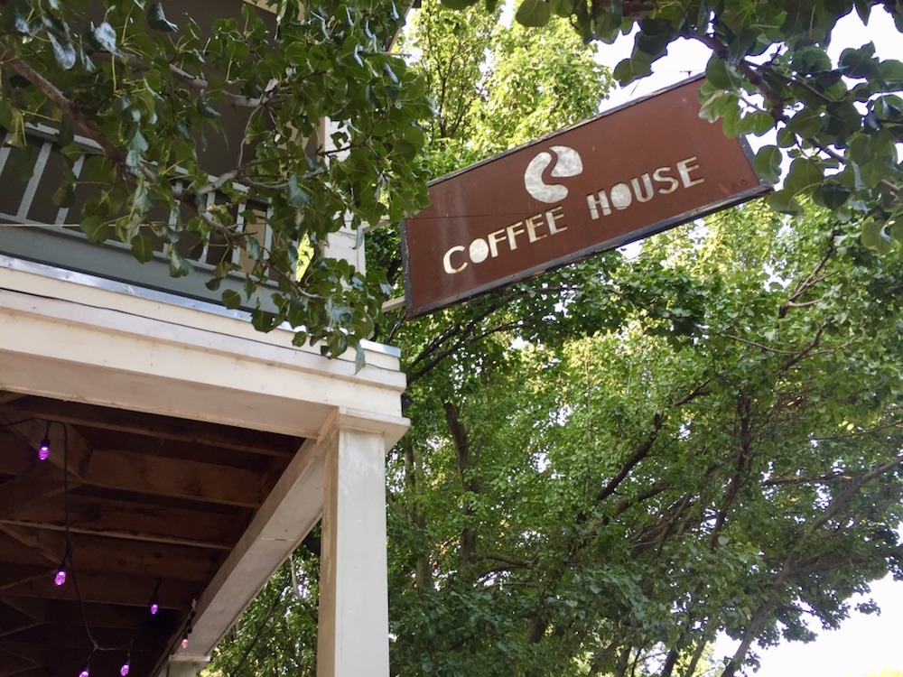 Brushed metal sign of RCoffeehouse in Wichita, Kansas
