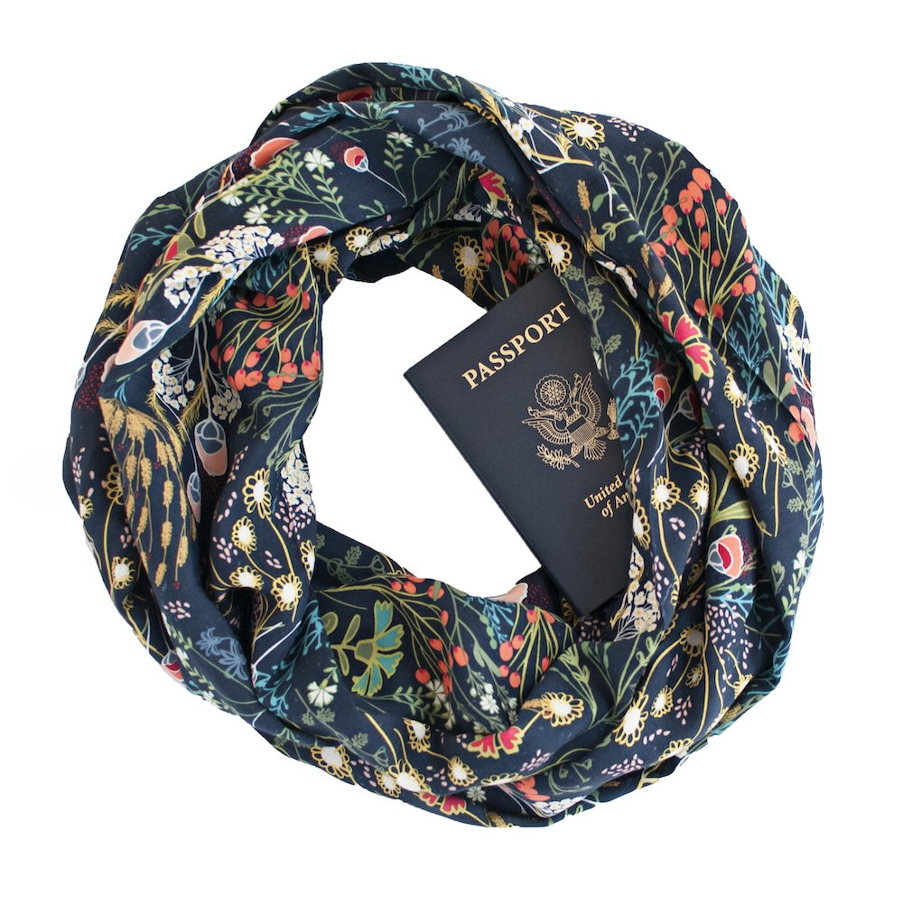 Floral print scarf with secret zipper pocket