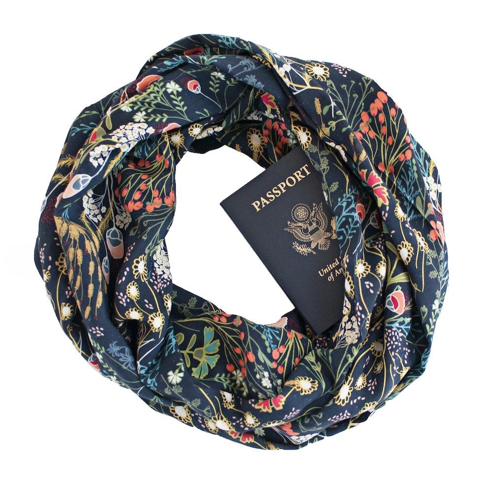 Floral print scarf with secret zipper pocket