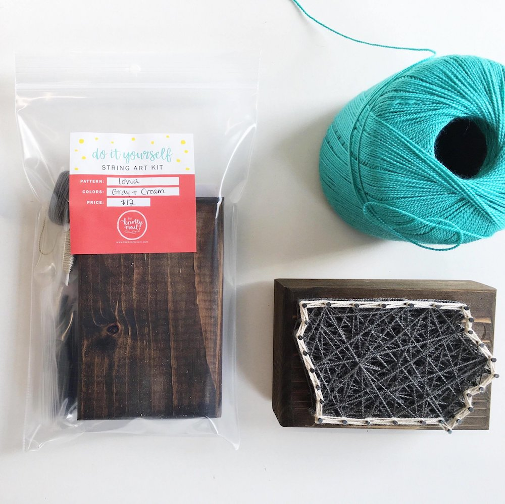DIY string art kit to create a piece in the shape of the state of Iowa from The Knotty Nail