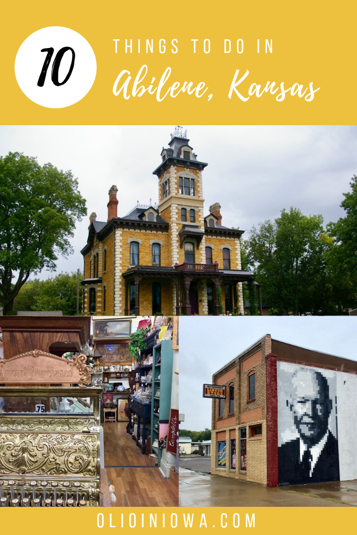 Looking for a small town full of charm and local history? There are so many things to do in Abilene, Kansas! From the historic Seelye Mansion to the Eisenhower Presidential Library and Museum to dinner at the Brookville Hotel, Abilene is full of history and fun for the whole family. #Abilene #Kansas #Midwest