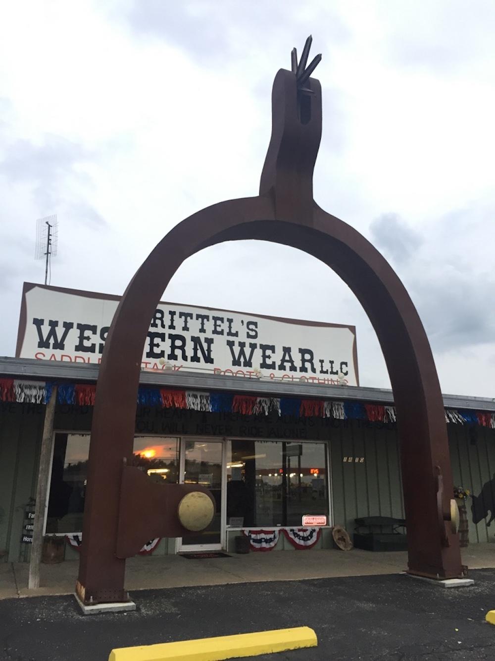 World's Largest Spur in front of Rittel's Western Wear in Abilene, Kansas