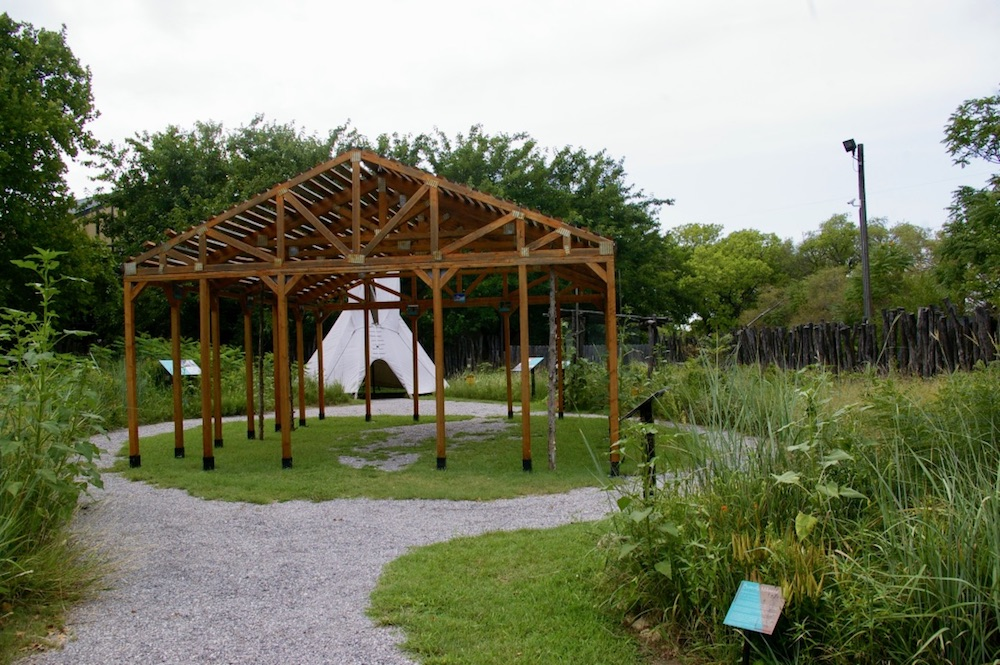 Outdoor pavilion including a prairie garden and teepee at the Mid-American All-Indian Center in Wichita, Kansas