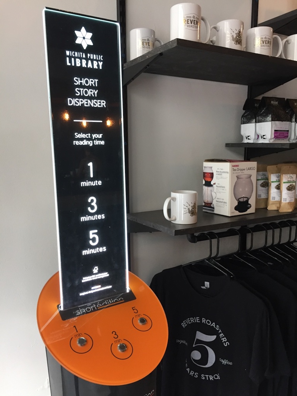Short story machine from the Wichita Public Library at Reverie Roasters in Wichita, Kansas