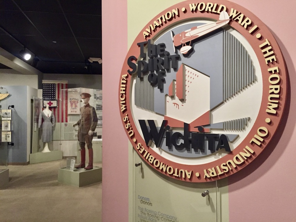 The Spirit of Wichita signage at the Wichita-Sedgwick County Historical Museum in Wichita, Kansas
