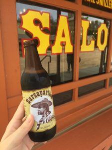 Bottle of sarsparilla outside of the Saloon at Old Cowtown Museum in Wichita, Kansas