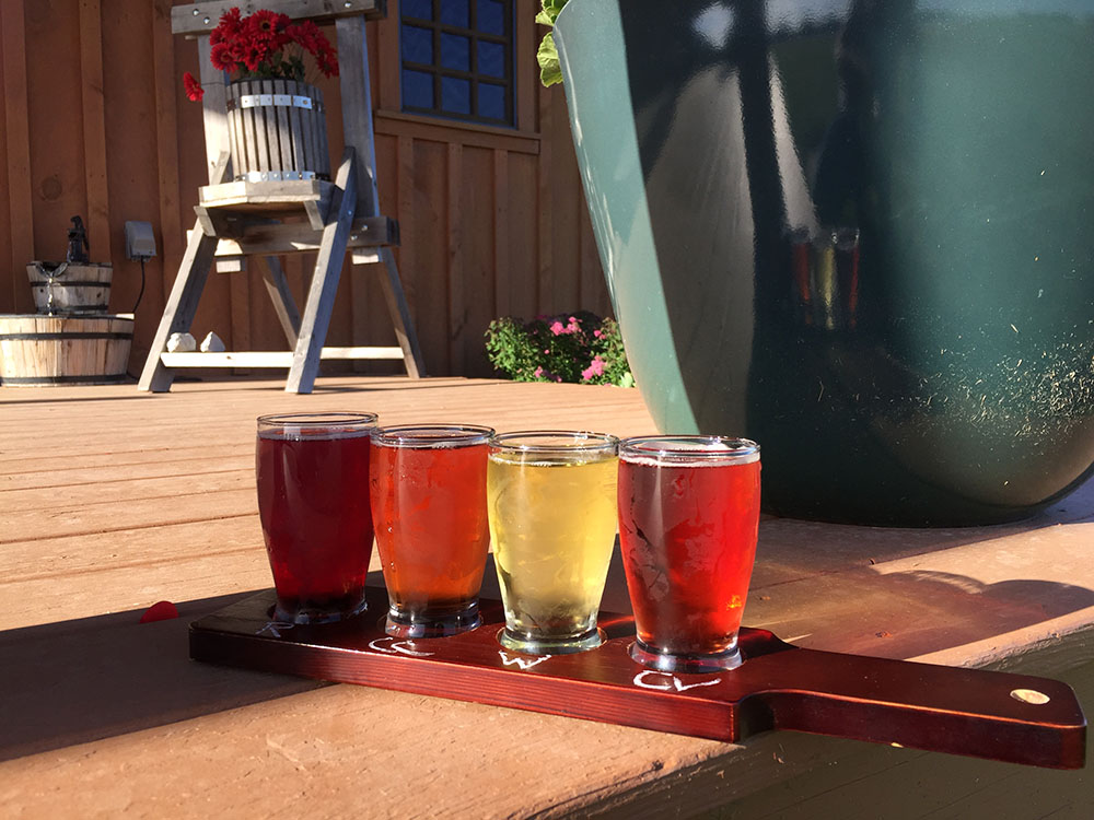 Four small glasses of red, orange and yellow ciders on a flight paddle on the porch of Winterset Cidery near Winterset, Iowa