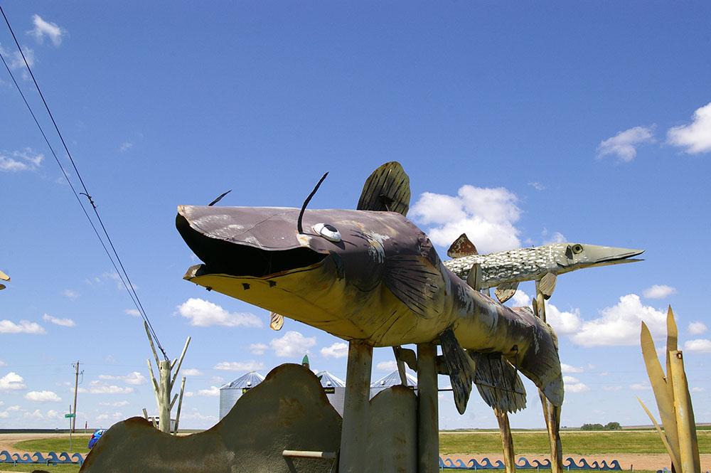 Brown metal catfish along the Enchanted Highway near Regent, North Dakota