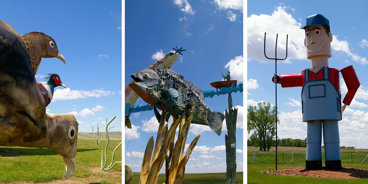 Graphic made of three images of sculptures along the Enchanted Highway including three metal pheasants, large fish with fisherman in boat and farmer wearing a baseball hat and overalls with a pitchfork near Regent, North Dakota