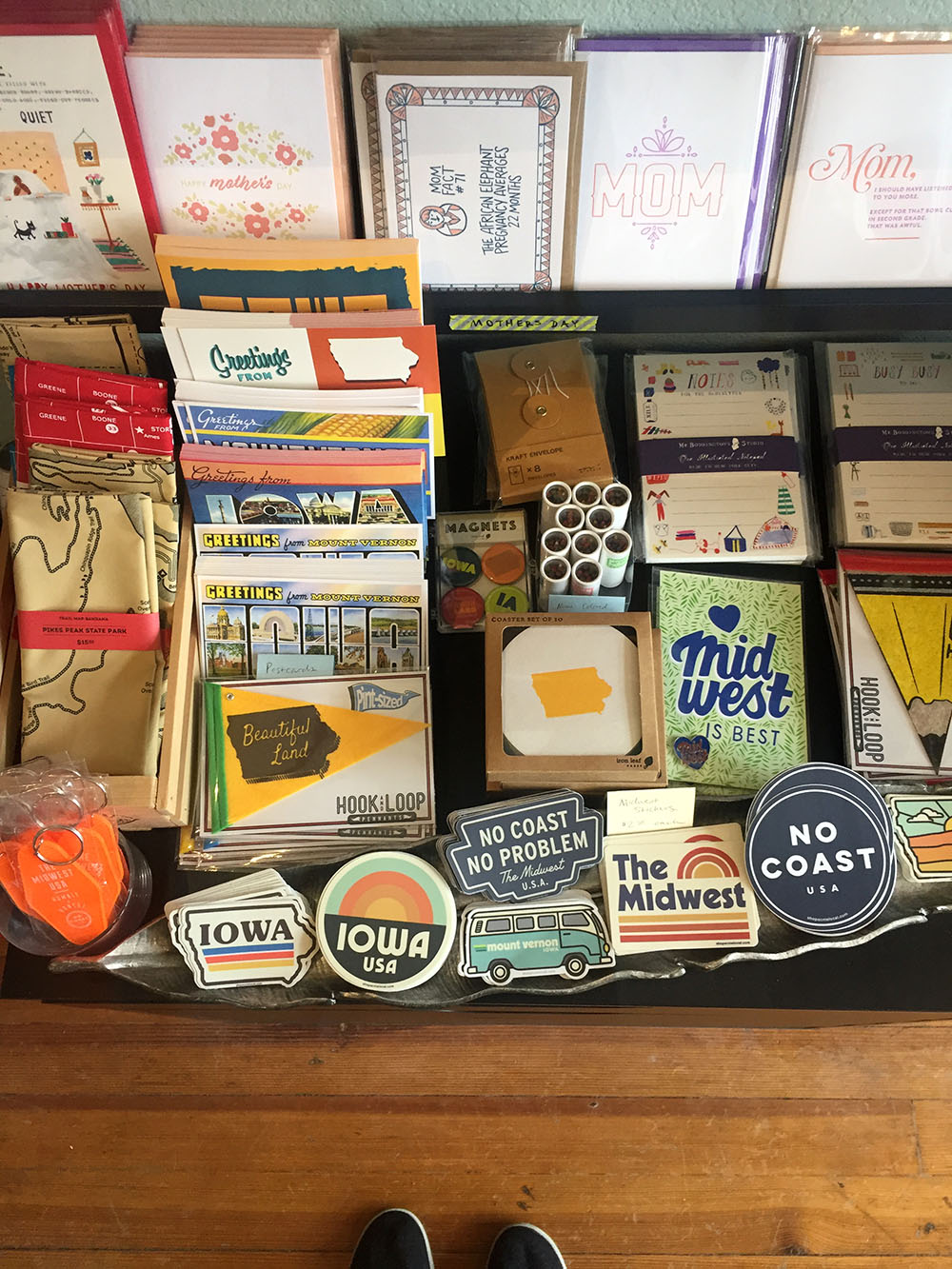Collection of Midwest themed cards at Iron Leaf Press in Mount Vernon, Iowa