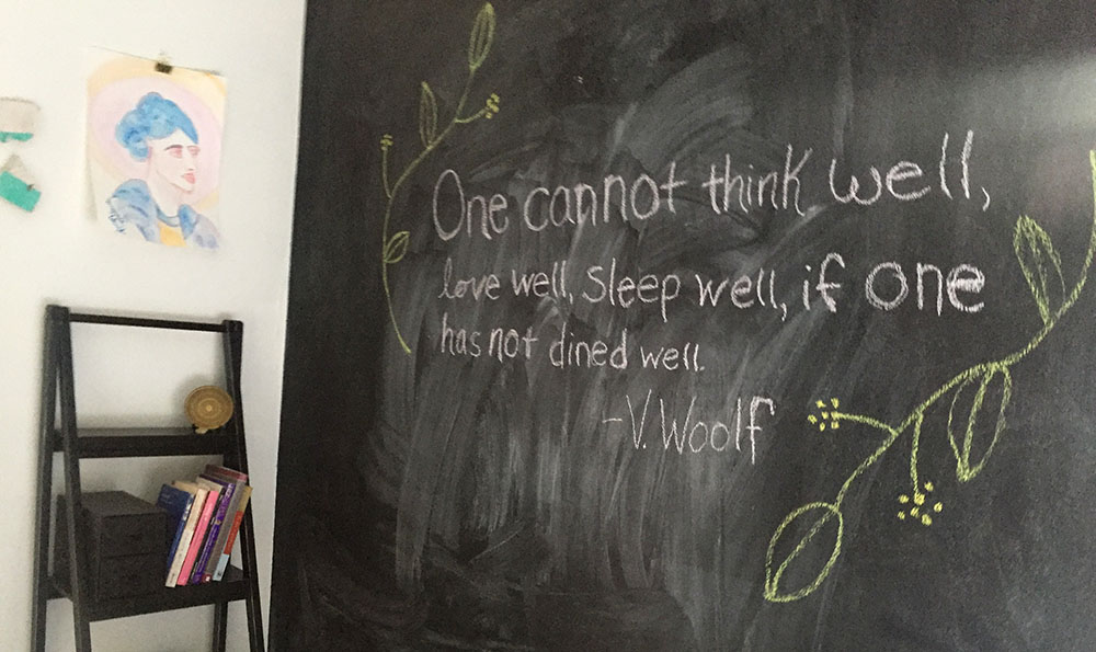 Virginia Woolf quote on a chalkboard wall at Thistle's Summit in Mount Vernon, Iowa