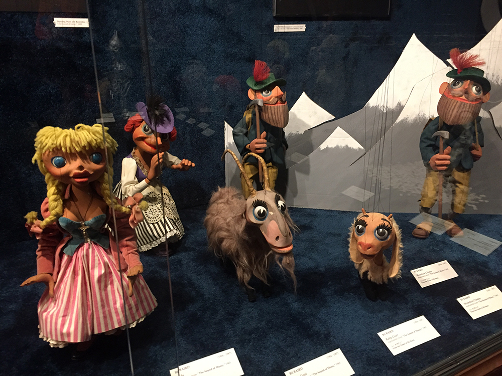 "Six marionette puppets made by Bil Baird used in the 1964 film ""The Sound of Music"" on display at the Charles H. MacNider Art Museum in Mason City, Iowa"