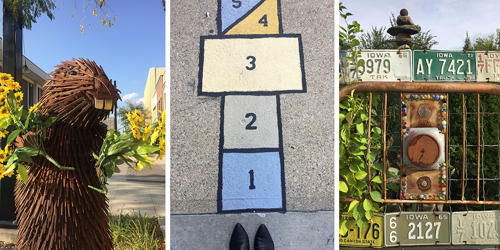 Three-image graphic about art in Mason City, Iowa featuring sculpture of beaver, hopscotch painting on sidewalk and entrance to Rancho Deluxe