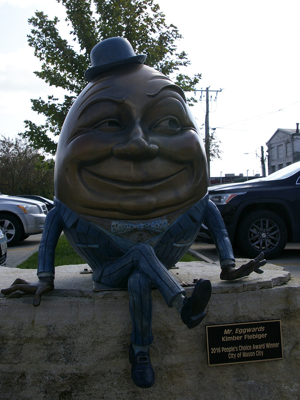 Metal Humpty Dumpty sculpture along the River City Sculptures on Parade in Mason City, Iowa