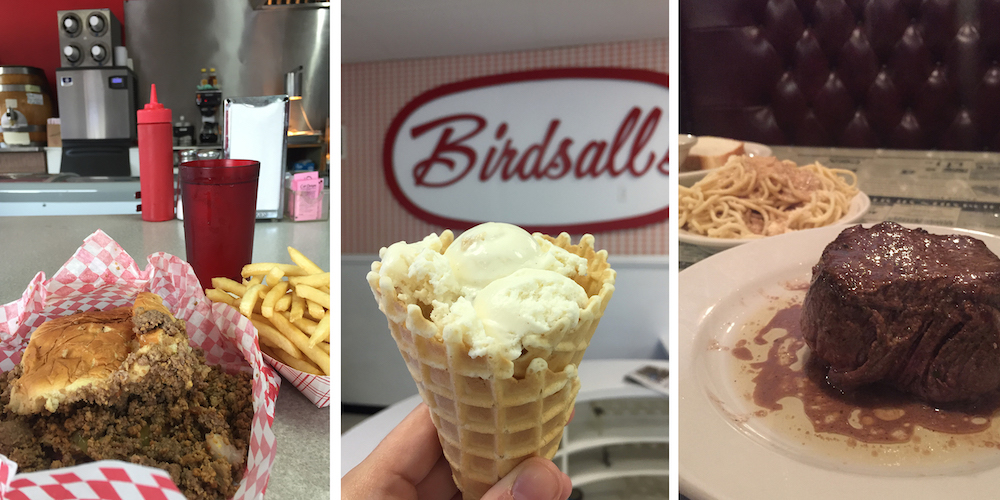 Graphic including photos of three places to eat in Mason City, Iowa: Loose meat sandwich at Pro's Sandwich Shop, Dutch letter ice cream in a waffle cone at Birdsall's, and steak and Greek spaghetti at Northwestern Steakhouse