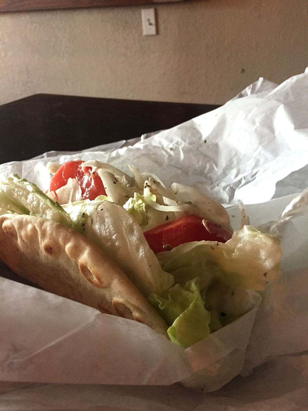 Gyro with salad and tomatoes from Pete's Kitchen in Mason City, Iowa