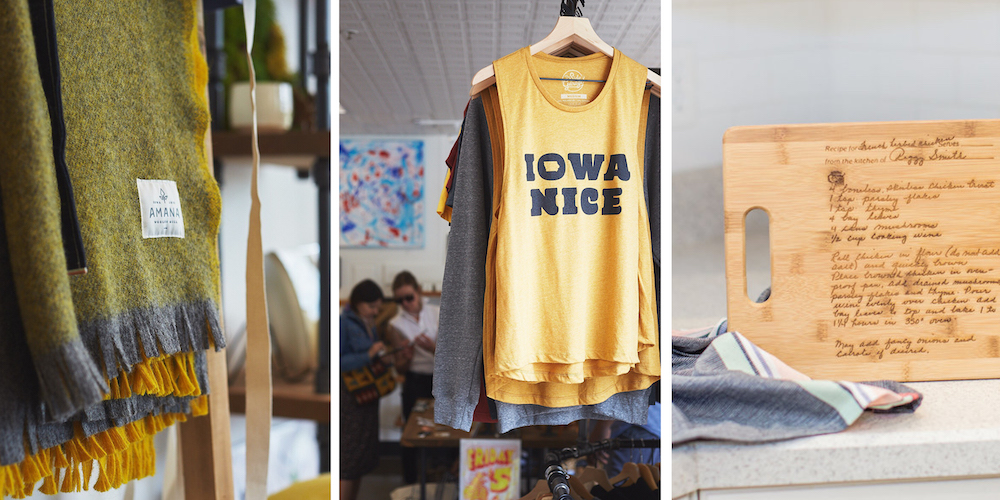Graphic of three made-in-Iowa gifts including an Amana woolen blanket, Iowa Nice shirt and wood engraved cutting board