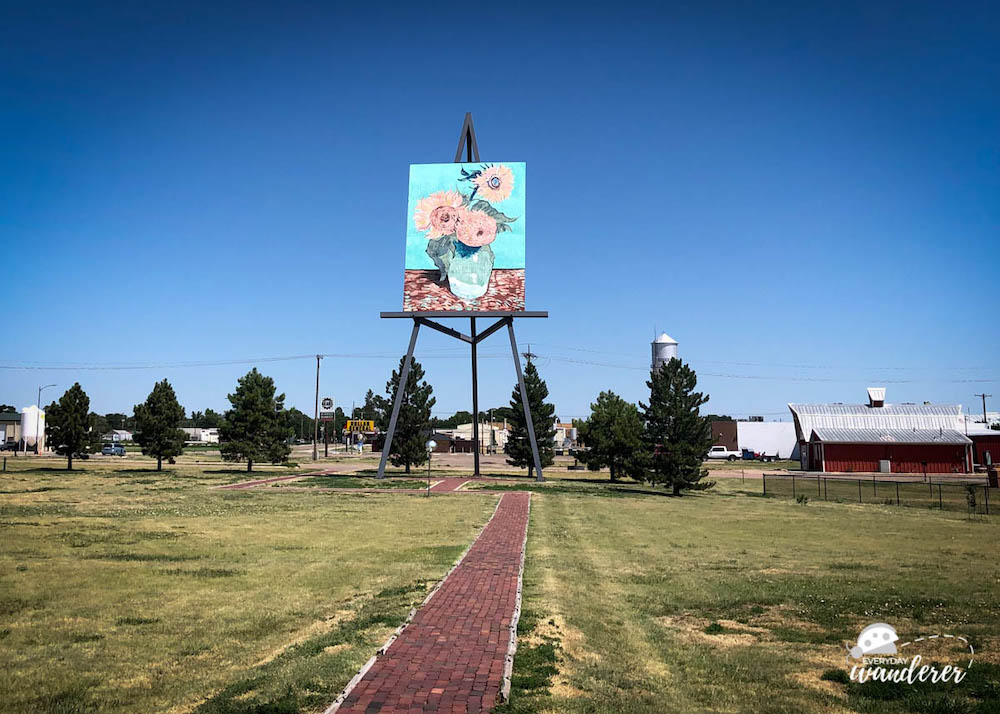 "Giant painting of Van Gogh's ""Sunflowers"" in Goodland, Kansas"
