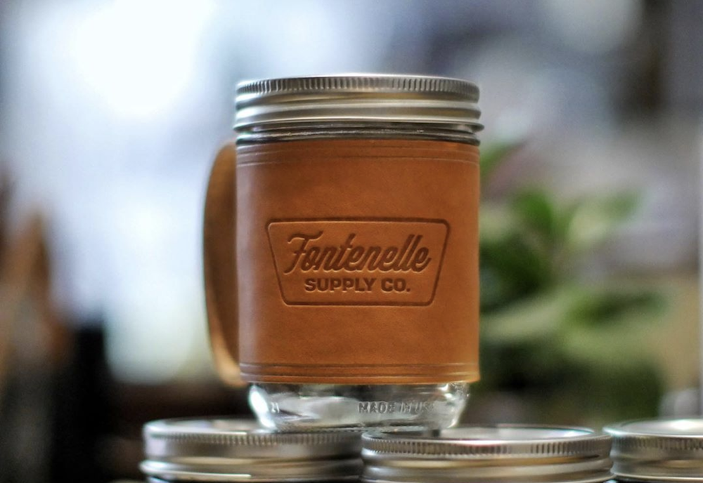 Leather mug holder from Fontenelle Supply Co.