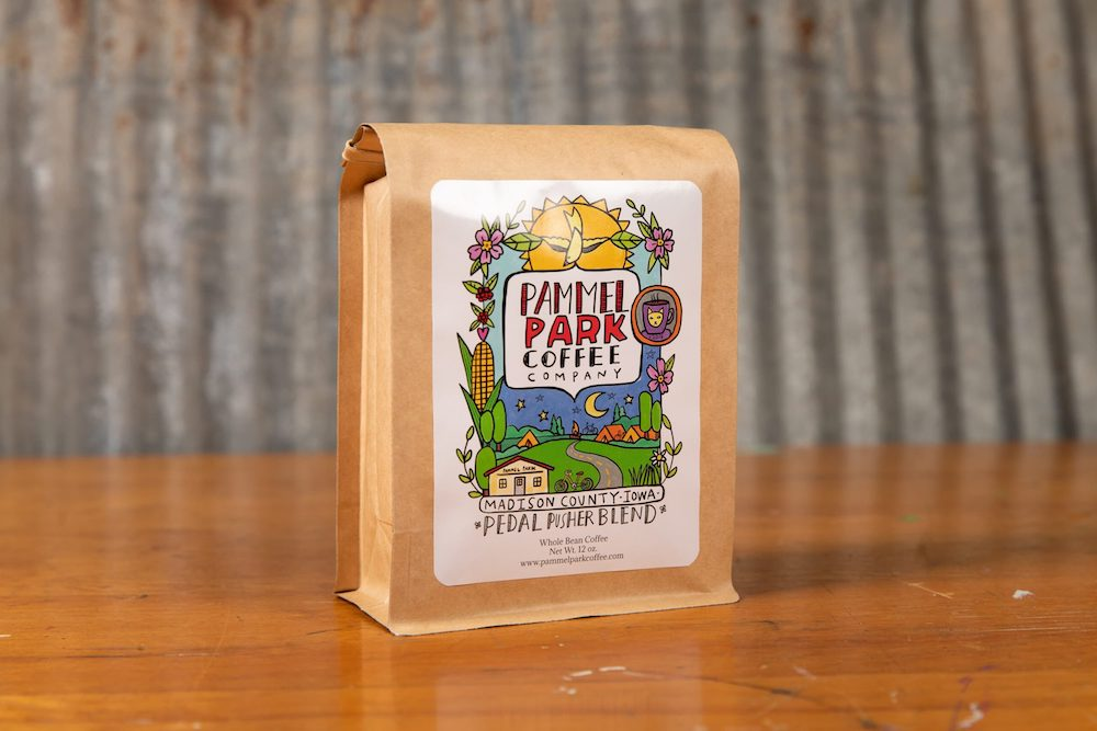 Bag of Pedal Pusher Blend coffee beans from Pammel Park Coffee Company