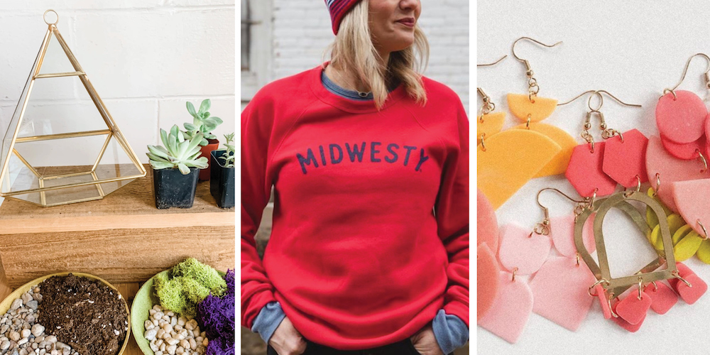 Graphic for post about how to support Iowa businesses by shopping small featuring a terrarium kit, Midwesty sweatshirt and variety of pink and orange earrings
