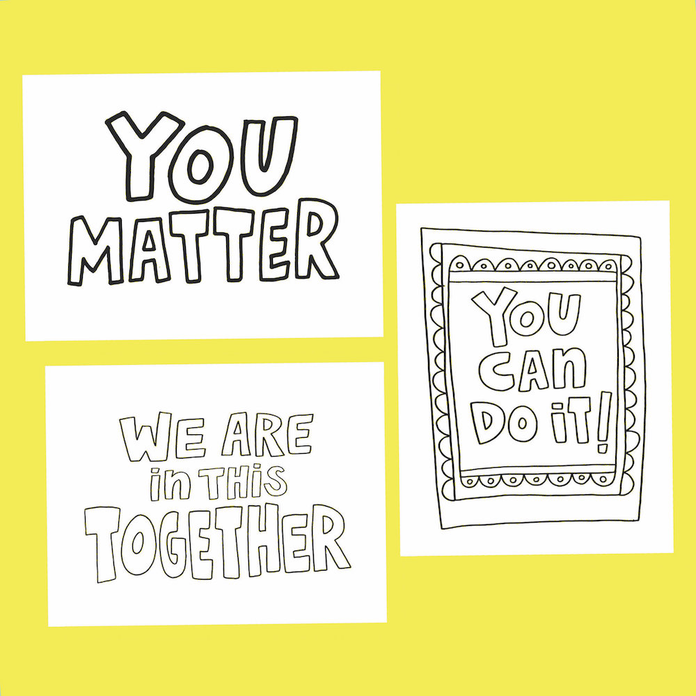 Set of notecards from XO-LP that say You Matter, We Are in This Together and You Can Do It