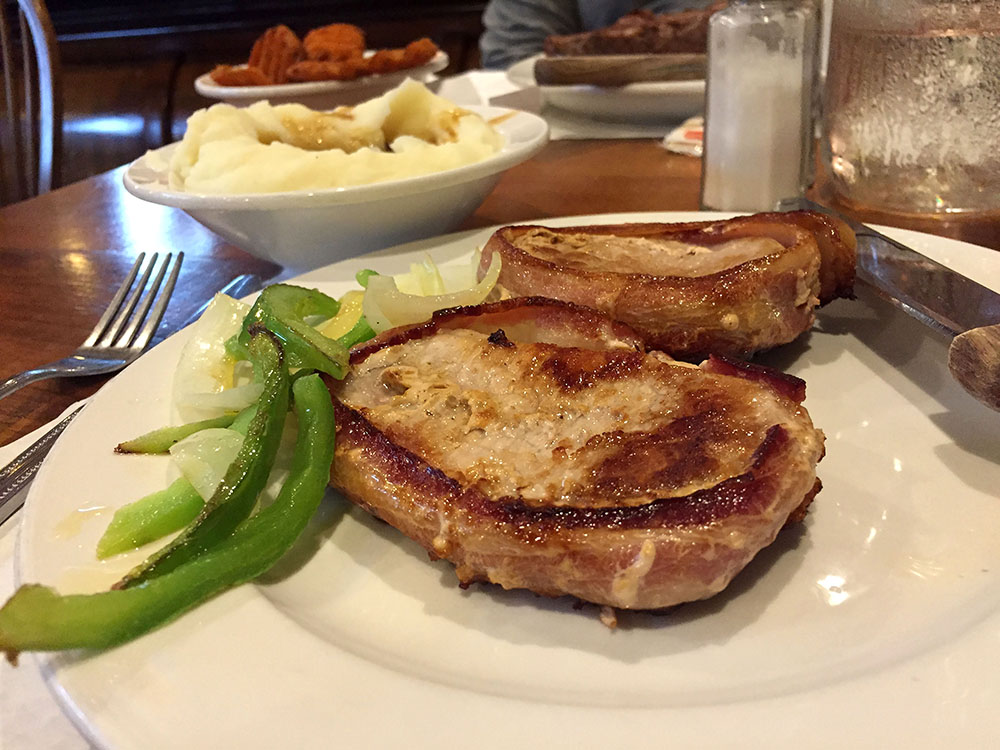Grilled pork chop and vegetables at Breitbach's Country Dining in Balltown, Iowa