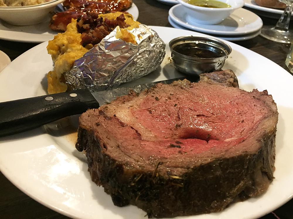 Prime rib with a twice baked potato at the Lighthouse Supper Club in Cedar Rapids, Iowa