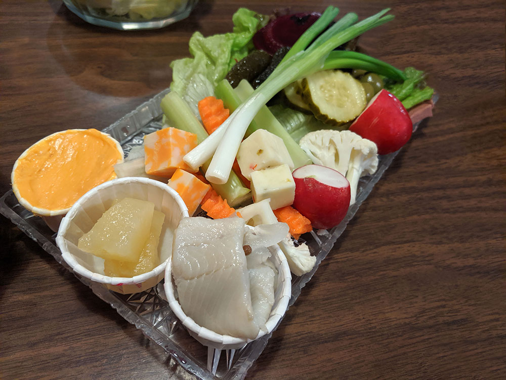 Relish tray with vegetables, cheese spread, smoked fish and more at the Redwood Steakhouse in Anita, Iowa
