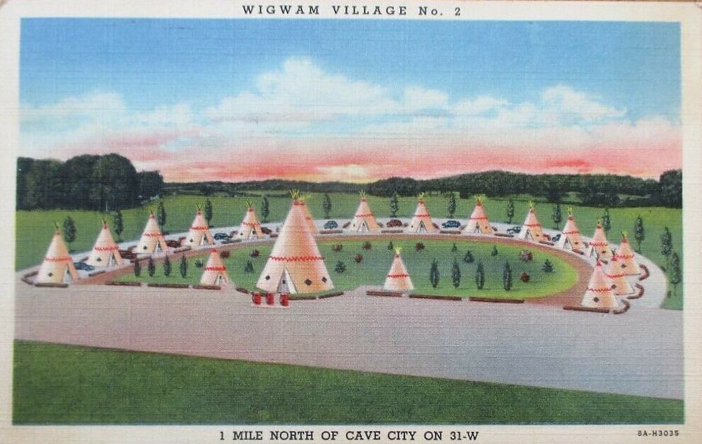 Vintage postcard of the Wigwam Village Inn #2 in Cave City, Kentucky