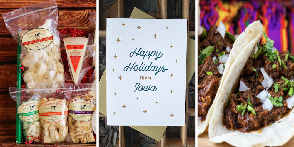 Olio in Iowa's 2020 Holiday Gift Guide: Gift ideas from Travel Iowa's Shop Iowa platform including a cheese lovers' box, holiday greeting card and tacos